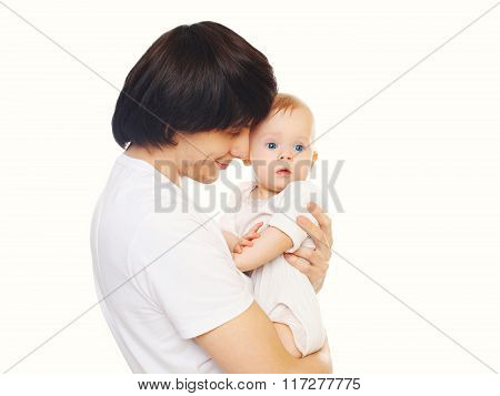 Happy Young Father Hugging Baby On A White Background