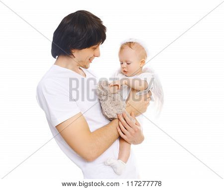 Happy Young Father With Baby On A White Background
