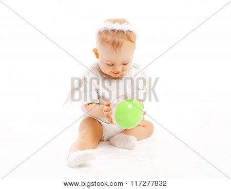 Sweet Baby Playing With Toy On White Background