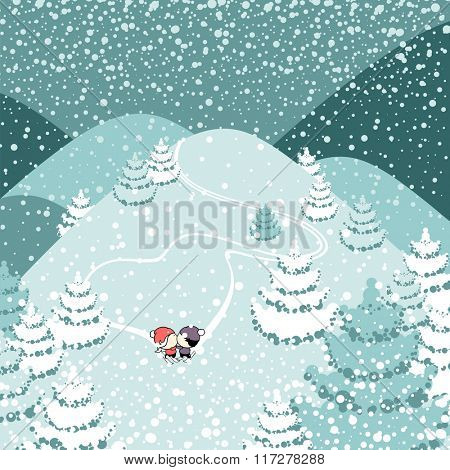 Cute couple of skiers kissing (raster version)