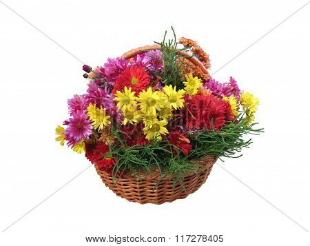 The Various Flowers In A Basket Isolated.