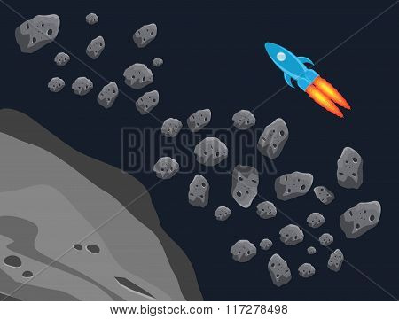 The asteroid belt and the rocket jet.