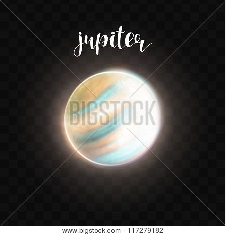Realistic glowing Jupiter planet Isolated. Glow with transparency. Space