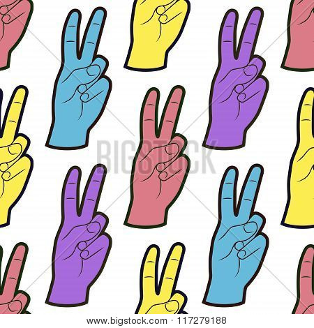 Seamless Pattern With Hands With Two Fingers Up Gesture. Background With Peace Symbol.