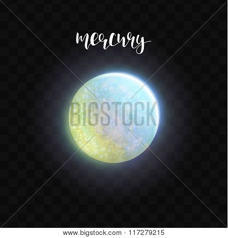 Realistic glowing Mercury planet Isolated. Glow with transparency. Space