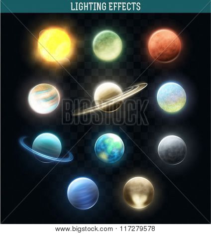 Set realistic bright planets. Light cosmic effects. Solar system. Space