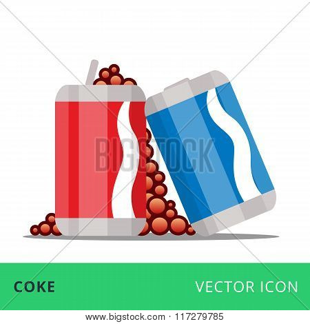 flat vector cans coke red and blue