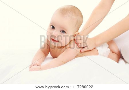 Cute Baby Massage Back, Child And Health Concept