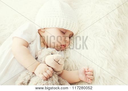 Cute Baby Sleeping On White Bed At Home Closeup
