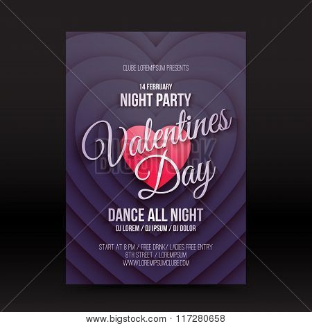 Vector Valentines Day Night Party Flayer