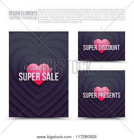 Happy Valentines Day Vector Design Elements