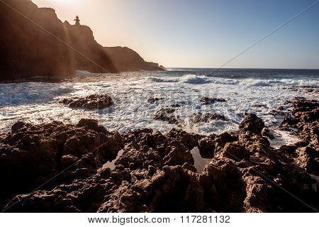Rocky coast on the cape Teno