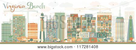 Abstract Virginia Beach (Virginia) Skyline with Color Buildings. Business Travel and Tourism Concept with Modern Buildings. Image for Presentation, Banner, Placard and Web Site