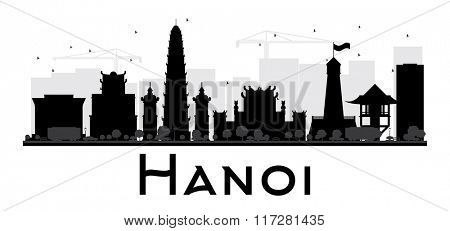 Hanoi City skyline black and white silhouette. Simple flat concept for tourism presentation, banner, placard or web site. Business travel concept. Cityscape with famous landmarks