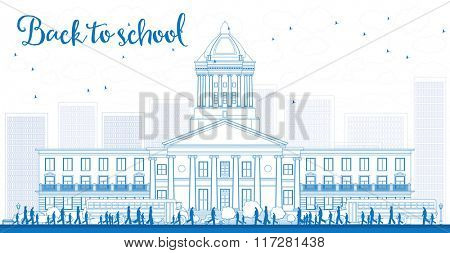 Outline Landscape with school bus, school building and people. Education concept.