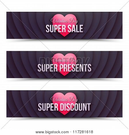 Happy Valentines Day Vector Web Banners