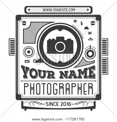 Retro vintage logotype of old camera for photographers. Design element. Isolated illustration.Photography badge, label template photo studio.
