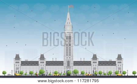 Parliament Building in Ottawa, Canada. Business Travel and Tourism Concept with Historic Building. Image for Presentation Banner Placard and Web Site.