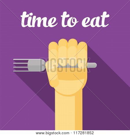 time to eat, food, Hand with a fork, eating, cartoon hand, vector hand
