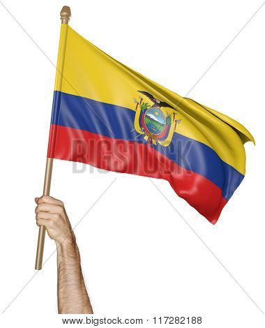 Hand proudly waving the national flag of Ecuador