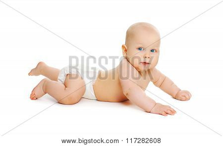 Cute Baby In Diapers Crawls On White Background