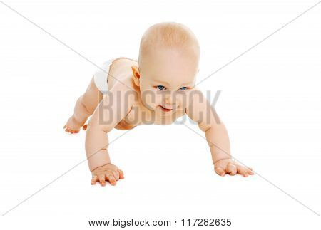 Cute Little Baby In Diapers Crawls On A White Background