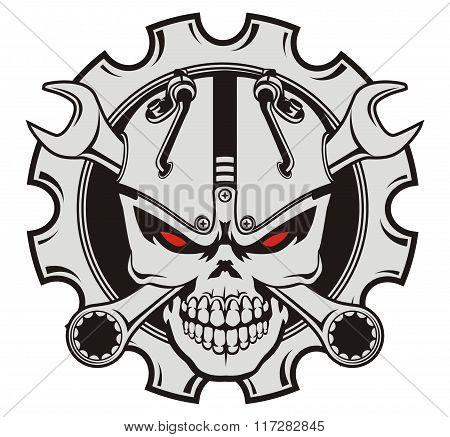 skull machine and wrench