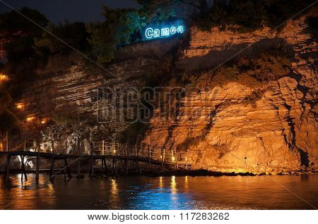 Closeup Of Cameo Island At Night, Zakynhtos, Greece