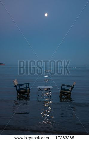 Table In The Sea At Night