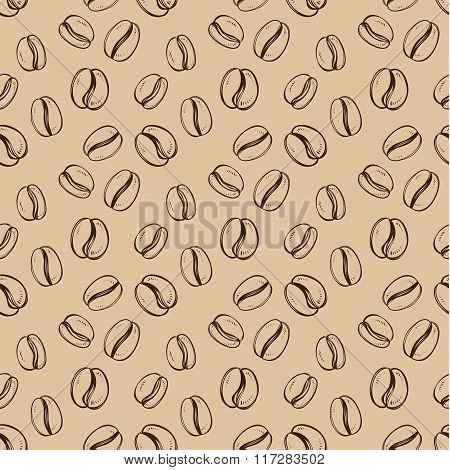 Seamless pattern with coffee grain in sketch style