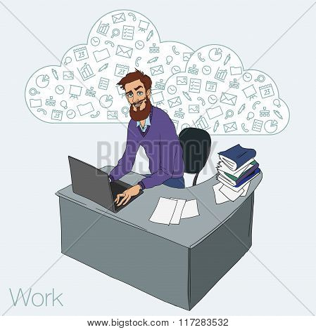 Man In Workplace With Laptop