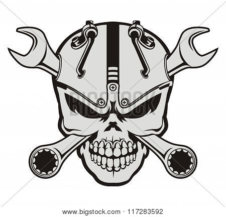 steampunk skull and wrench