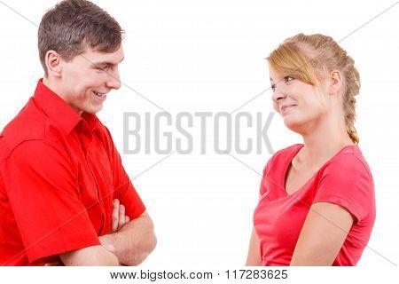 Lovely Couple Talk Flirty.