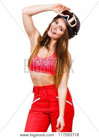 Woman Skier In Googles. Winter Sport