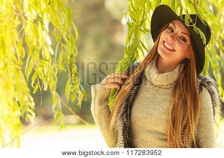 Portrait Of Beauty Woman Outdoors