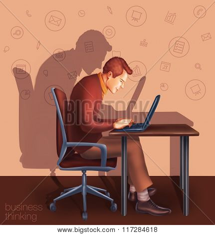 Office Working Businessman Typing On A Laptop