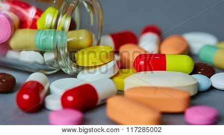 Close up of many colorful pills