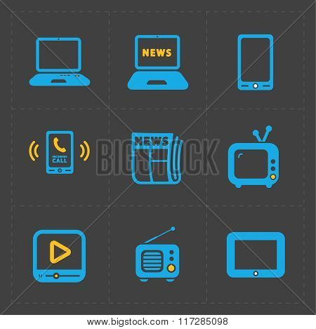 Vector Media Icons set on dark background