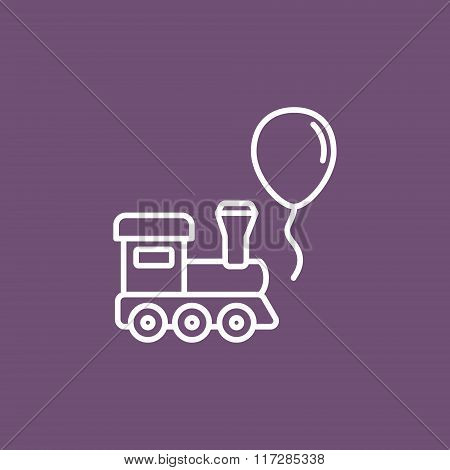 Train and balloon toy flat icon