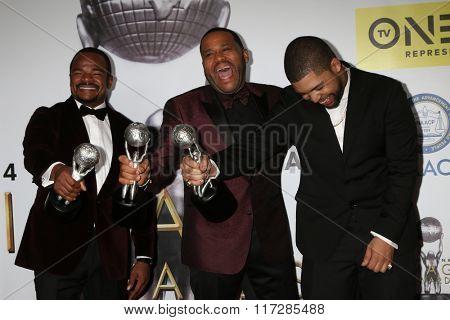LOS ANGELES - FEB 5:  F Gary Gray, Anthony Anderson, O'Shea Jackson Jr. at the 47TH NAACP Image Awards Press Room at the Pasadena Civic Auditorium on February 5, 2016 in Pasadena, CA
