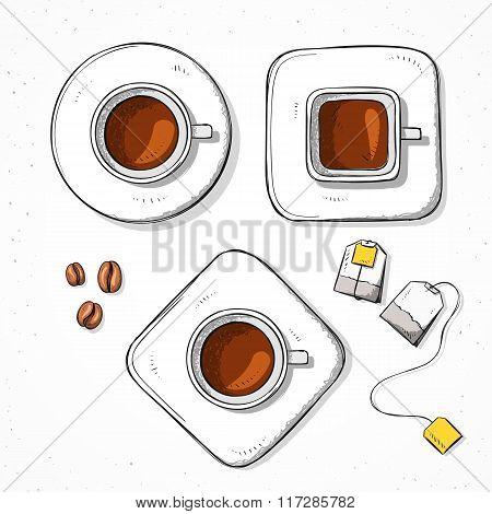 Isolated set cups, coffee bean, tea bag handmade sketch style