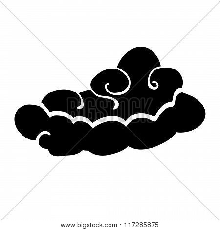 Cloud icon. Abstract stylized fairytale view sign. Black on white. Vector
