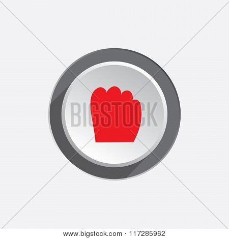 Hand tool icon. Grip, take, catch, drag, move symbol symbol. Red sign on round three-dimensional whi