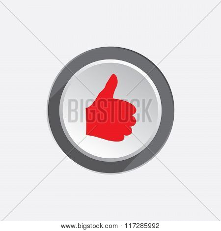 Like hand icon. Thumb up, good symbol. Red sign on round three-dimensional white-gray button. Vector