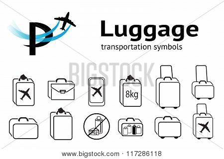 Transportation icons set. Luggage, baggage, liquid and food transportation symbol. Hand luggage for