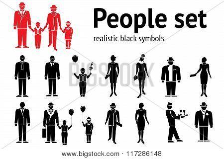 People icon set. Standing, going ladies, men children. Black silhouettes on white. Parents grandpare