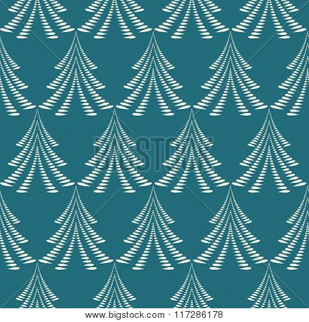 Seamless Christmas pattern. Stylized ornament of trees, firs on green background. Twist silhouettes