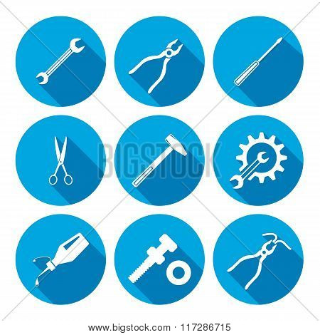 Tools icons set. Glue pliers tongs, wrench key, cogwheel hammer, screw bolt, nut scissors. Repair fi