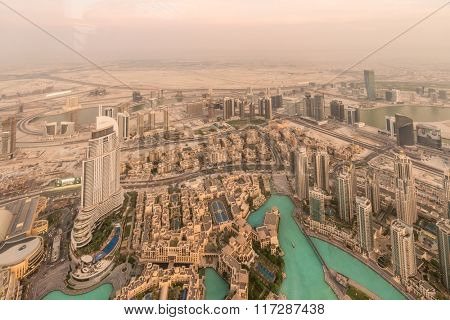 Panorama of night Dubai during sandstorm