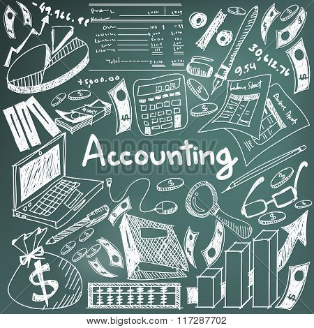 Accounting And Financial Education Chalk Handwriting Doodle Icon Of Banknote, Money, Balance Sheet A